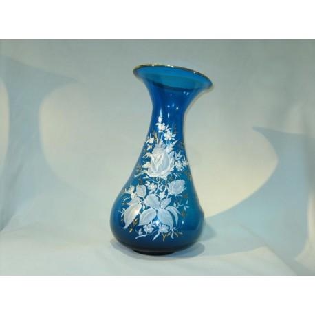 Jarrón vidrio azul con decoración floral