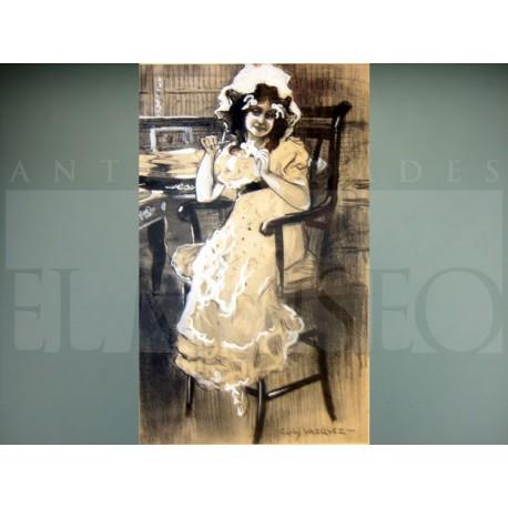 Carlos Vázquez Úbeda - La niña recortando papel