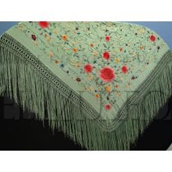 Mantón turquesa bordado en colores