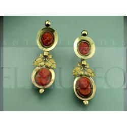 Antique earrings made of coral cameos