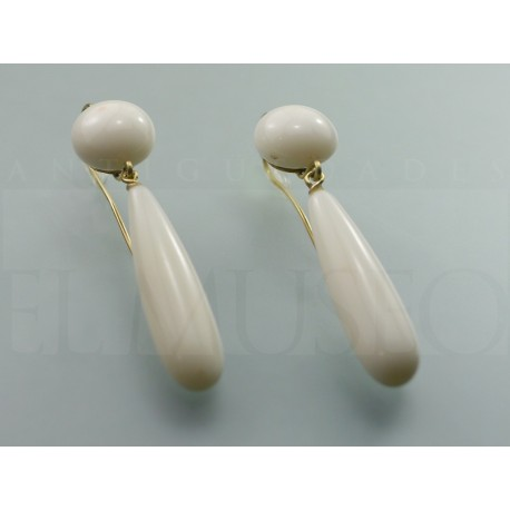 White coral and gold earrings
