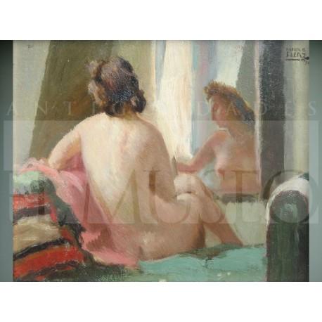 Rafael González Sáenz - Desnudo femenino frente espejo
